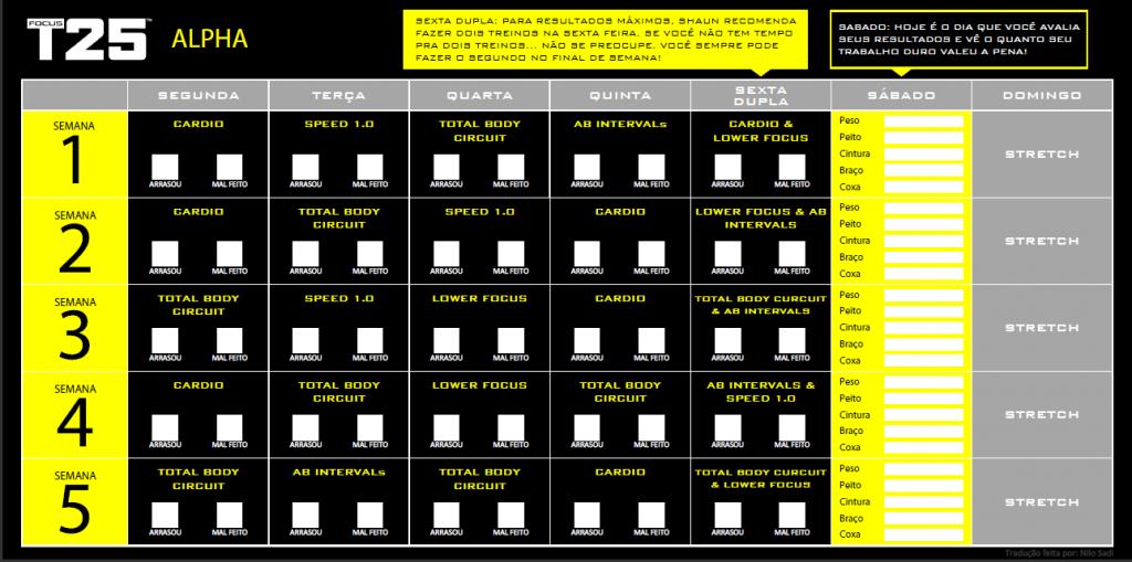 Calendário Alpha Focus T25